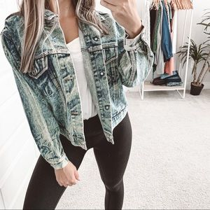 Vintage Distressed Acid Wash Jean Jacket Blue